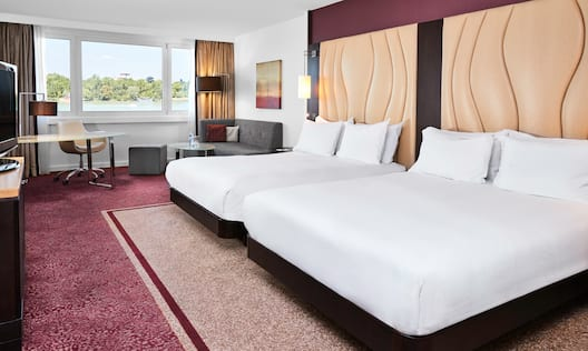 Hotel Room with Two Queen Beds, Amenities and View of Danube River