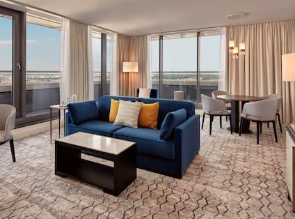 Suite Living Area with Panoramic Views of the City