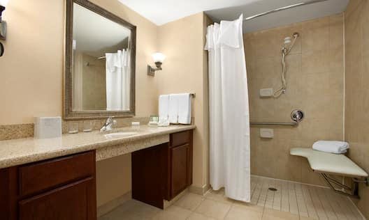 Vanity Mirror, Sink, Towels, Toiletries, and Roll-in Shower with Bench, Grab Bars, and Handheld Showerhead in Accessible Bathroom