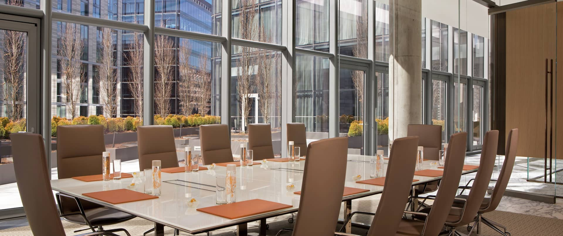 Terrace Boardroom with Table, Chairs, and Outside View