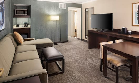 Suite Living Room with Lounge Seating, Television, Wet Bar Kitchen and Entry to Bedroom