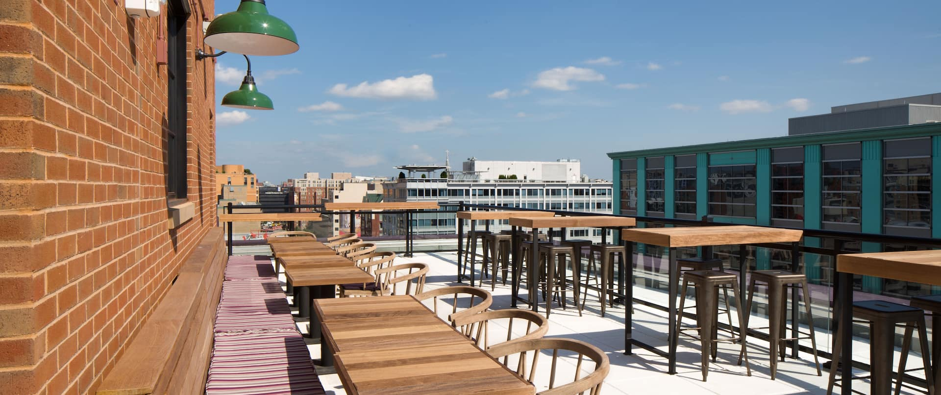 Views and comfortable seating from rooftop bar