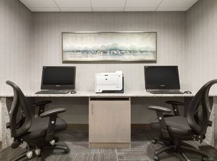 Business center with computers and printer