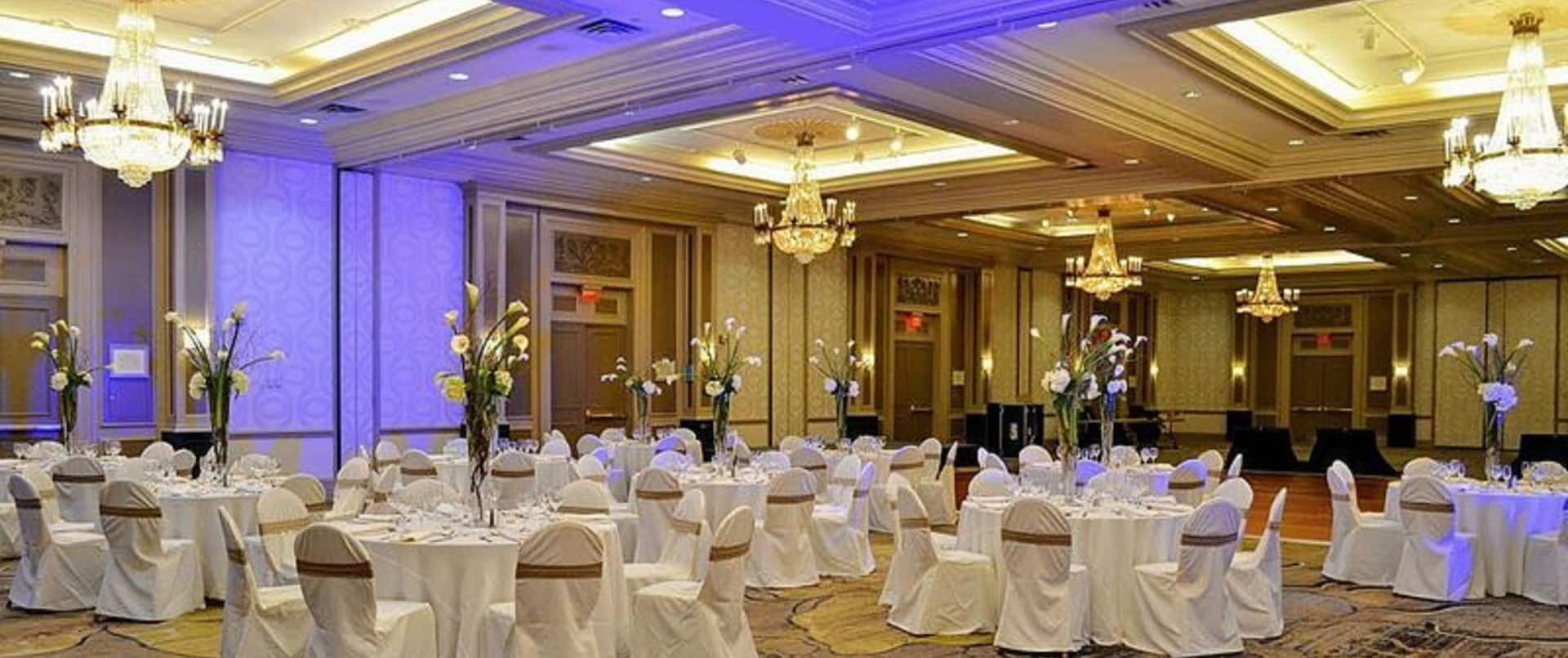Grand Ballroom with Banquet Round Tables Setup