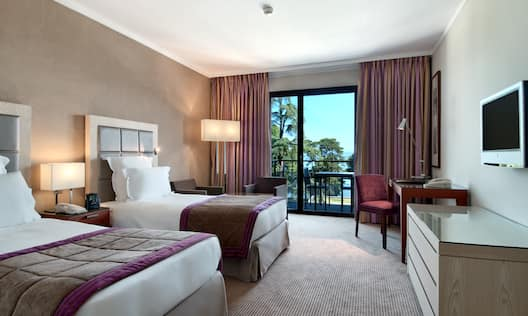 Twin Beds and Desk in Deluxe Room