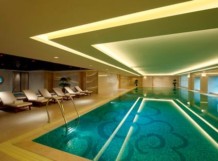 Indoor Pool With Chaise Lounge Chairs