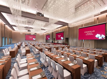 Conrad Ballroom is 760㎡ and the height is 8m with pillarless inside.