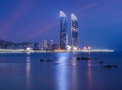 City Skyline Hotel Exterior at Night