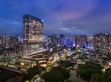 Panoramic View of Hotel Exterior at Night