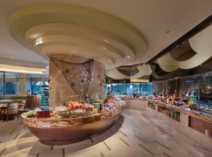 Circle Themes Buffet Restaurant buffet area with various food and beverage options