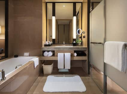 Guest Bathroom with Walk-In Shower, Vanity and Bath Tub