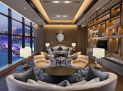 Executive Lounge Seating Area with Sofas, Armchairs and Coffee Table