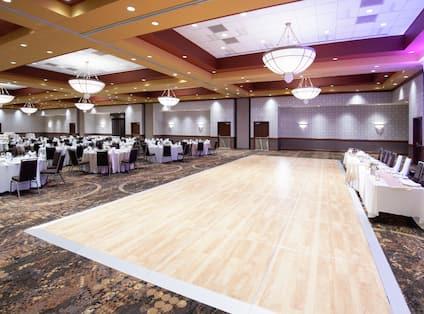Pinnacle Ballroom with Dance Floor and Wedding Reception Setup