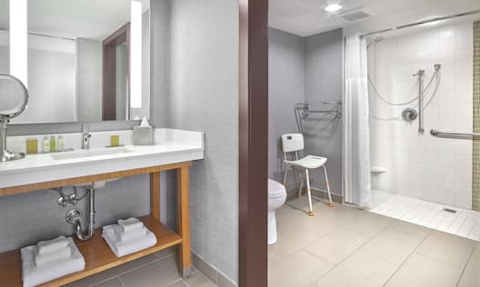 Accessible Guest Bathroom Vanity and Roll-In Shower