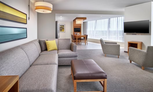 Guest Suite Living Room with Sofa and Television