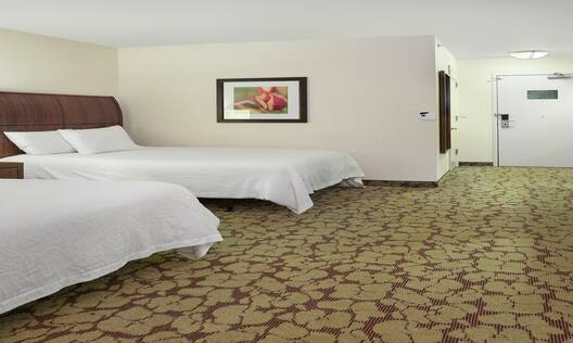 Accessible Guest Room with Two Queen Beds, Work Desk, and Television