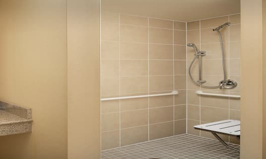 Roll in Shower and Vanity Area with Mirror in Bathroom