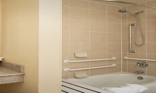 Accessible Bathtub with Grab Bars and Vanity Area with Large Mirror