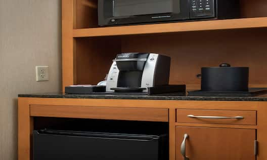 Microwave Coffeemaker and Minifridge in Guest Room