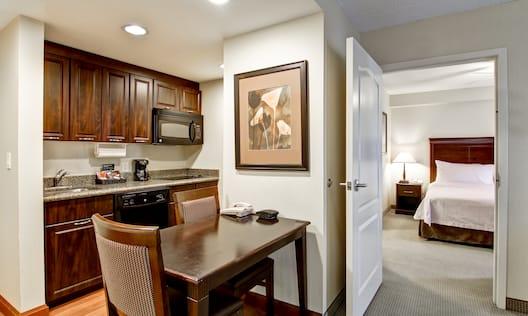 Guestrooom Suite Kitchen and Open Doorway to Bedroom