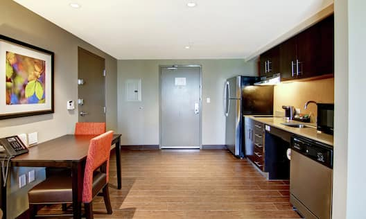 Accessible One King One Bedroom Mobility  Suite Kitchen with Full Size Amenities