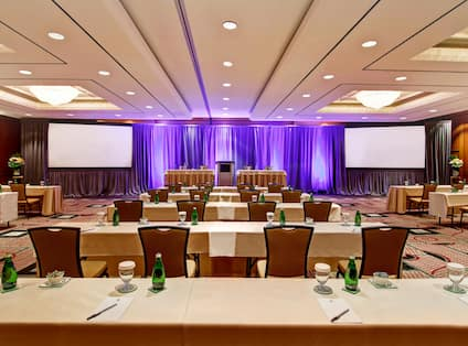 Large modern meeting room with theatre set-up