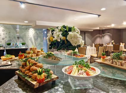 Modern set-up with event food buffet