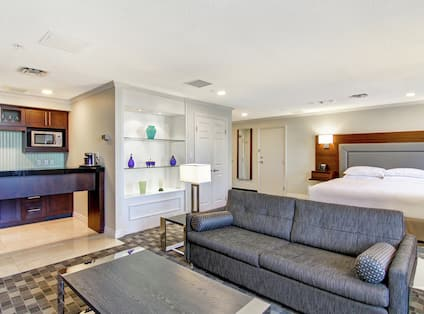 Suite Kitchen, Lounge Area, and King Bed