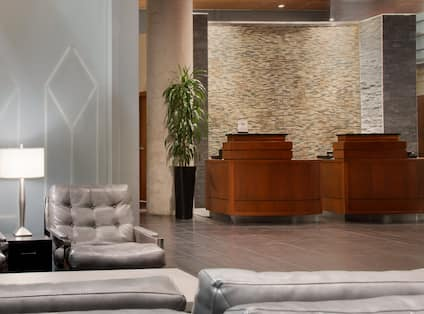 Front Desk And Lobby Near Waterwall