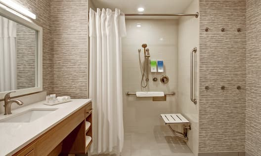 Roll-in Shower with Bench and Grab Bars