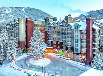 Hotel exterior with snow