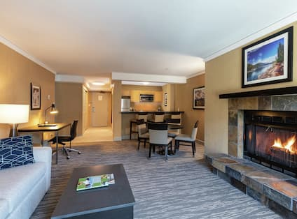 Suite Living Room with Seating Area and fireplace