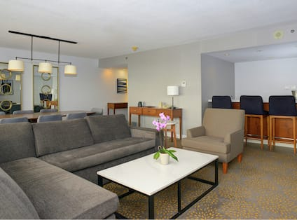 Executive Suite Living Area with Grey Sofa and Coffee Table