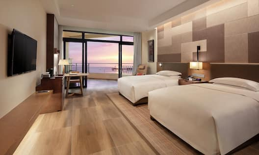 Two Double Bed Guest Room with Sea View