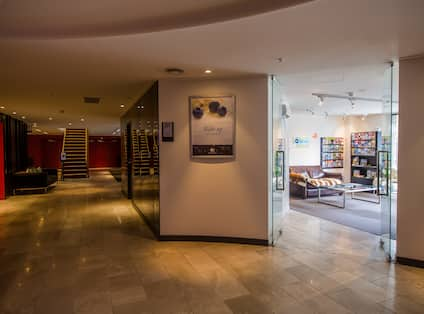 DoubleTree by Hilton Hotel Queenstown, New Zealand - Lobby Stairs, Seating and Entrance to Qbook