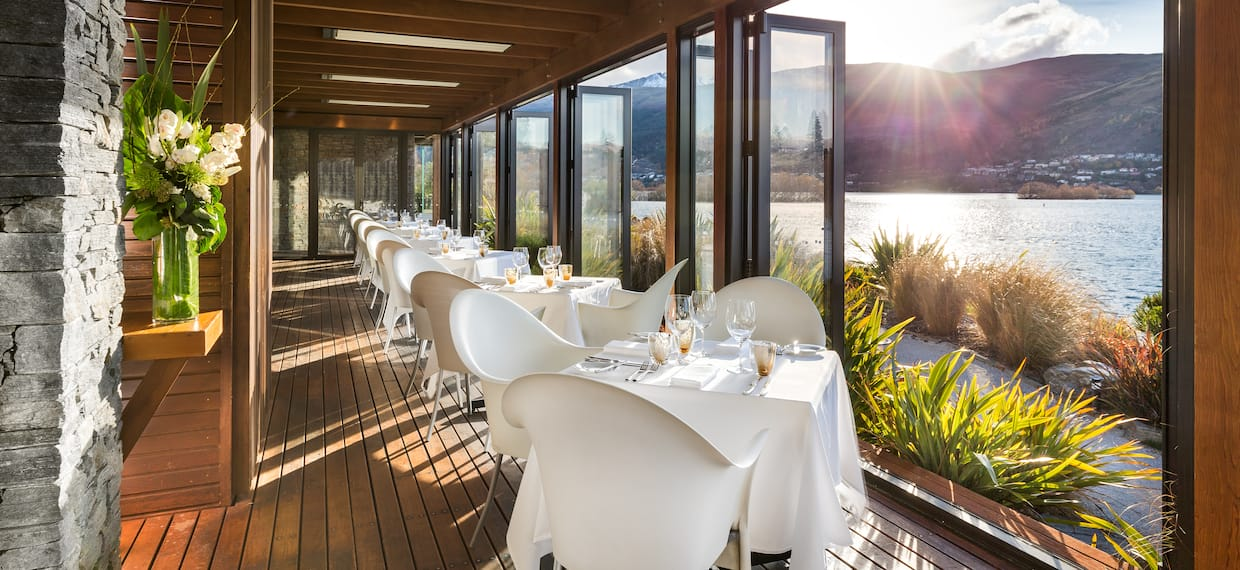 Wakatipu Grill Terrace, Linen Covered Dining Tables with Sea and Mountain Views