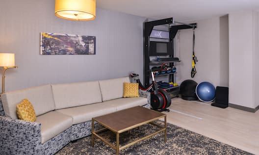 Guest Room Lounge Area with Fitness Corner